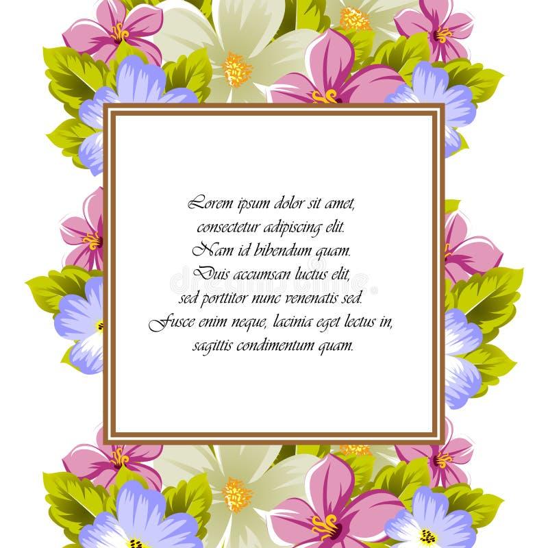 Rama few kwiaty Dla projekta karty, zaproszenia, powitanie dla urodziny, ślub, przyjęcie, wakacje, świętowanie, walentynki ` zdjęcia stock