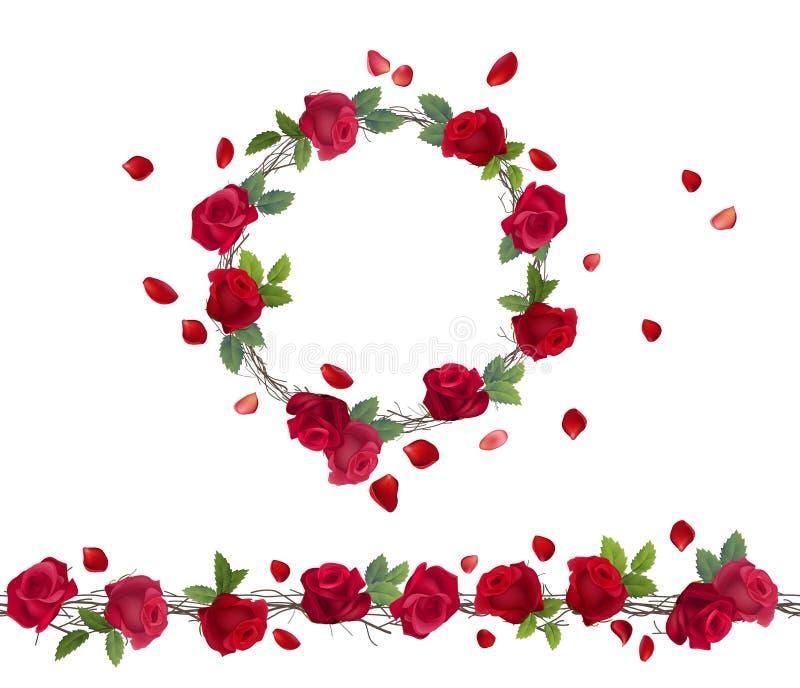 Rama floreciente de rosas rojas stock de ilustración