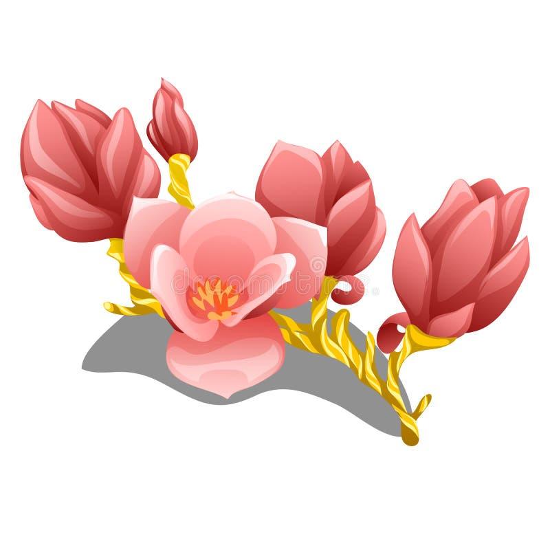 Rama floreciente hecha a mano agraciada hecha del oro con el primer rosado delicado de los pétalos aislado en el fondo blanco E stock de ilustración