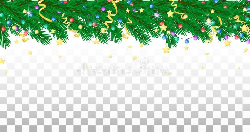 Rama, guirnalda, flámulas y estrellas del abeto Frontera del día de fiesta, fondo transparente ilustración del vector