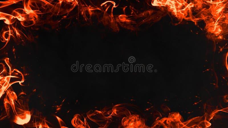 Rama istnego ogienia płomienie pali ruchu smpke na odosobnionym czarnym tle ilustracja wektor