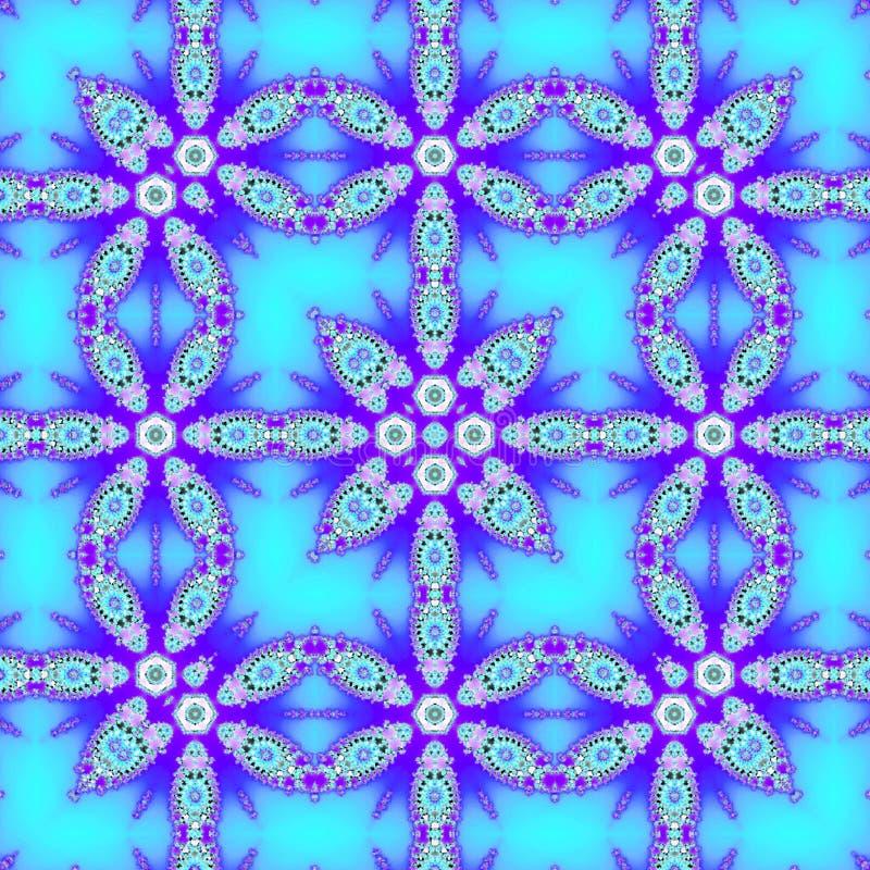 Rama jako kwadratowy geometryczny wzór, koronkowy ornamentacyjny arabesk w neonowy indygowy i błękitnym ilustracji