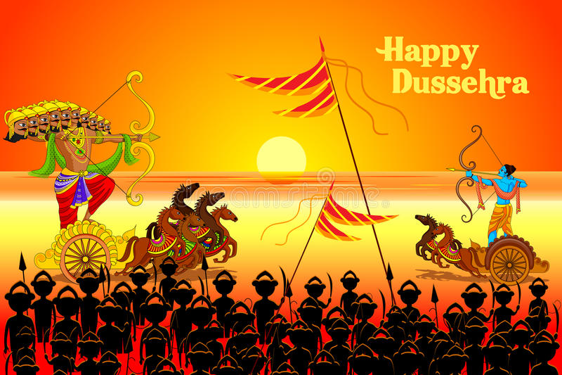 Download Rama Killing Ravana In Dussehra Stock Vector - Illustration of lord, editable: 33879294