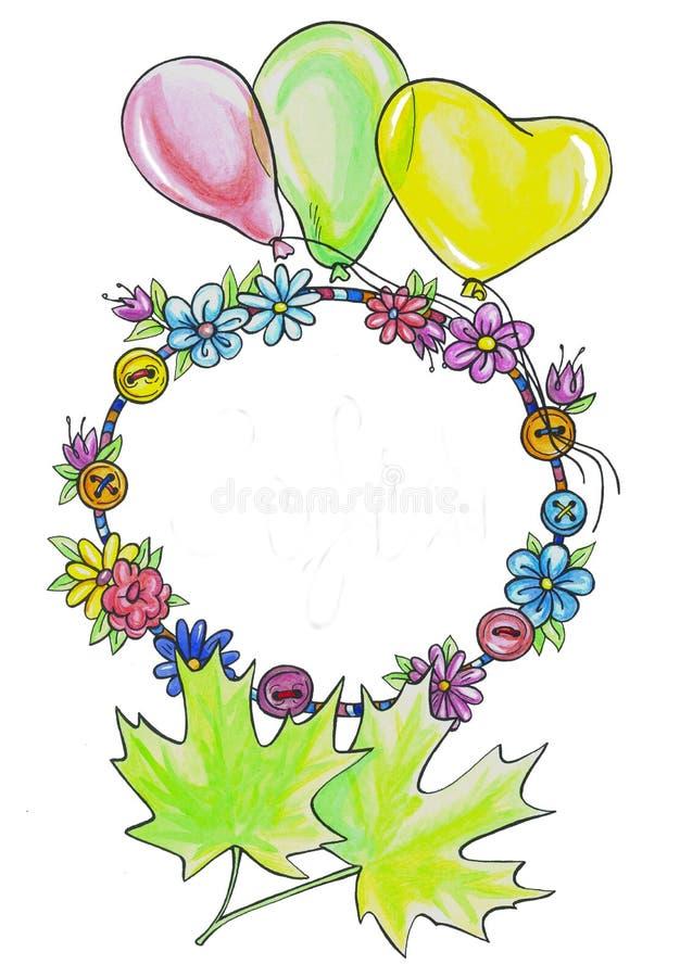 Rama kwiaty i guziki ilustracja wektor