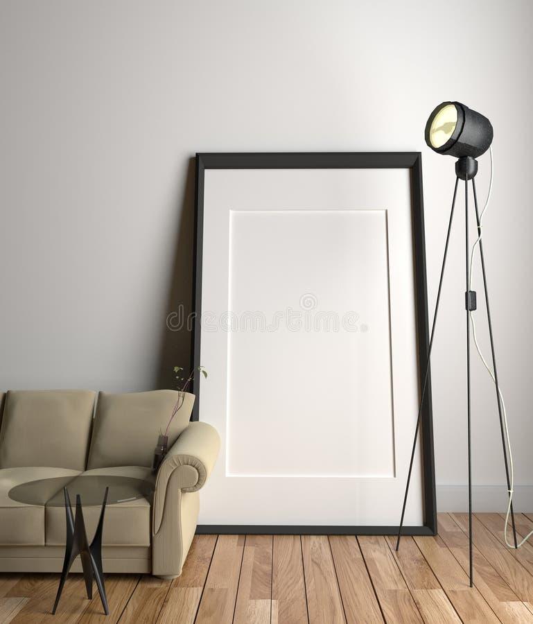 Rama na pustym biel ściany tle - żyć izbowego wnętrze z kanapą, szkło lampa na drewnianej podłodze i stół i ?wiadczenia 3 d ilustracji