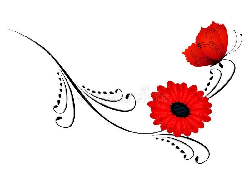 Rama negra con una flor roja y una mariposa stock de ilustración