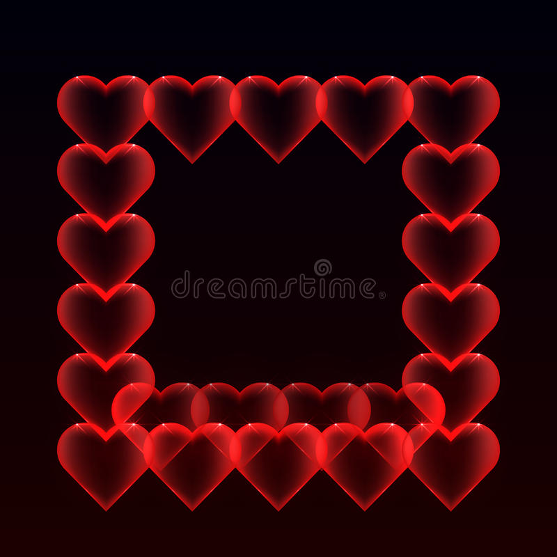 Rama od balonów serc z błyskotliwością na ciemnym tle ilustracja wektor
