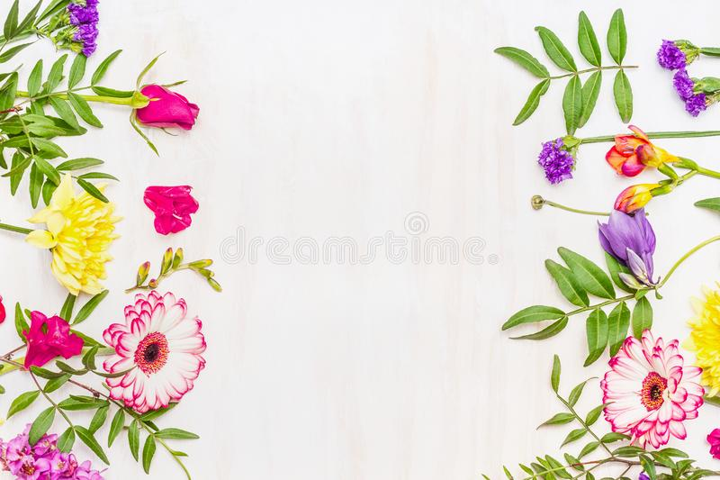 Rama od różnorodność wiosny lata kwiatów, przestrzeń dla teksta zdjęcia stock