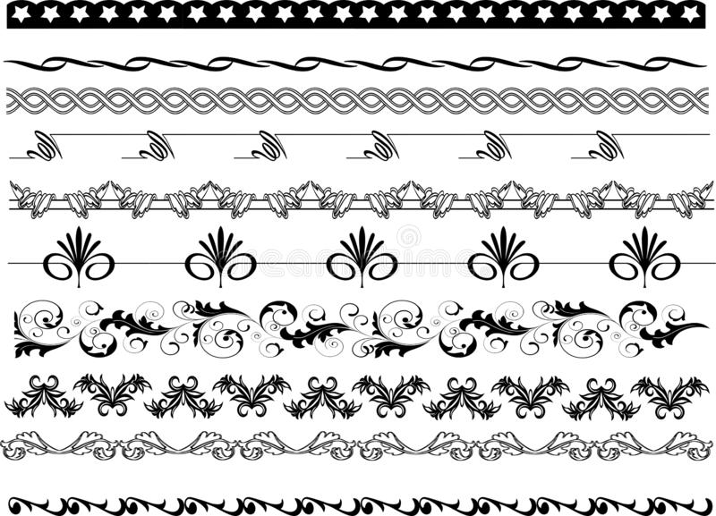 Rama osacza wzory, granicy i kwiecistych projekty, ilustracji