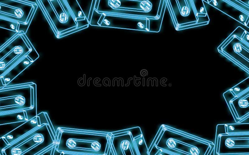 Rama piękne abstrakcjonistyczne neonowe jaskrawe błękitne jarzy się starego retro rocznika modnisia muzyczne audio kasety od 80's royalty ilustracja