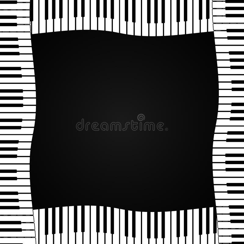 Rama pianino klucze na ciemnym tle również zwrócić corel ilustracji wektora ilustracji