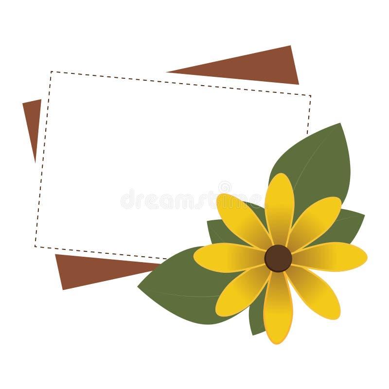Rama prostokątna z żółtym kwiatem ilustracja wektor
