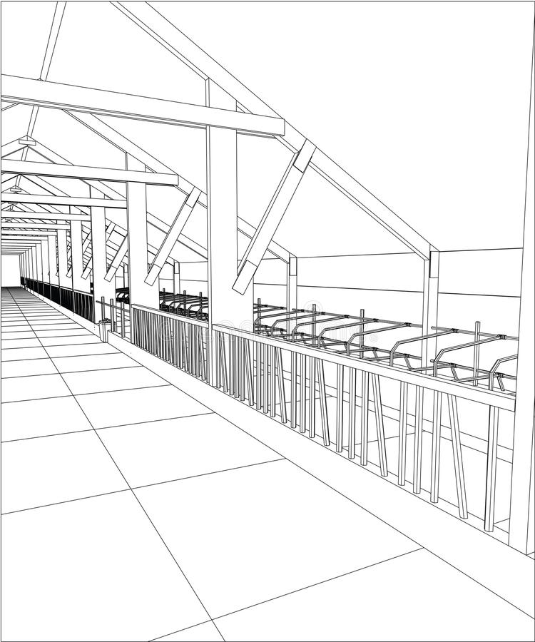Rama przemysłowy budynek salowy na bielu Kalkowanie ilustracja 3d ilustracji