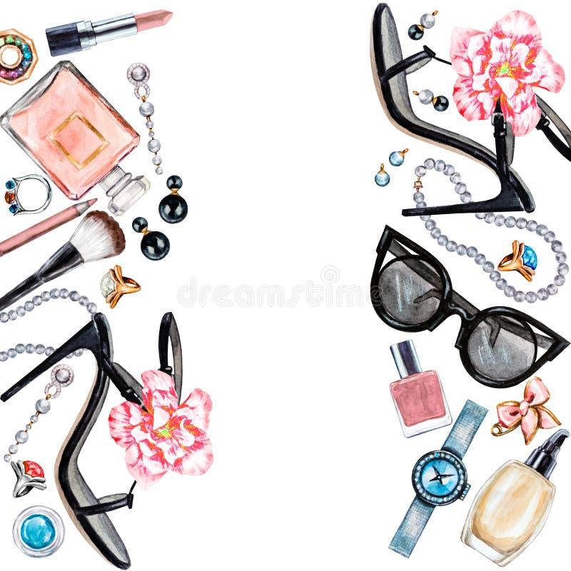 Rama różnorodni akwareli kobiety akcesoria Makeup produkty ilustracja wektor