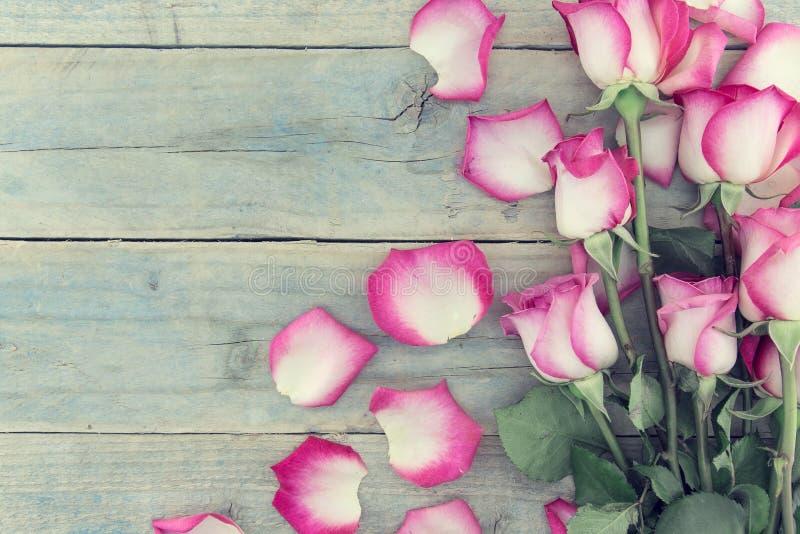 Rama różowe róże na turkusowym nieociosanym drewnianym tle z c ilustracji