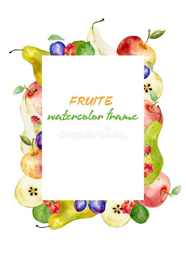 Rama robić akwareli owoc czerwoni jabłka, zielone bonkrety i malinki, śliwki, rodzynki ilustracji