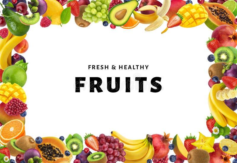 Rama robić różne owoc i jagody na białym tle, odizolowywający, zdrowy karmowy pojęcie obrazy stock