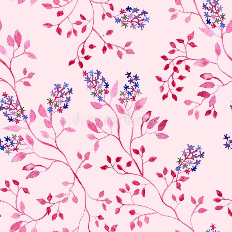 Rama roja con las flores y las hojas, pintura de la acuarela - modelo inconsútil en fondo rosado libre illustration