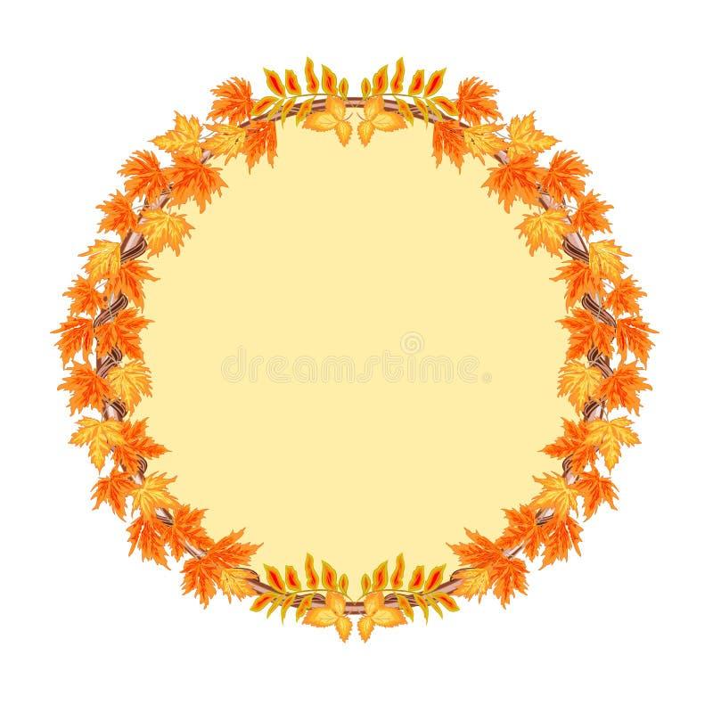 Rama round z jesień liśćmi wektorowymi ilustracji