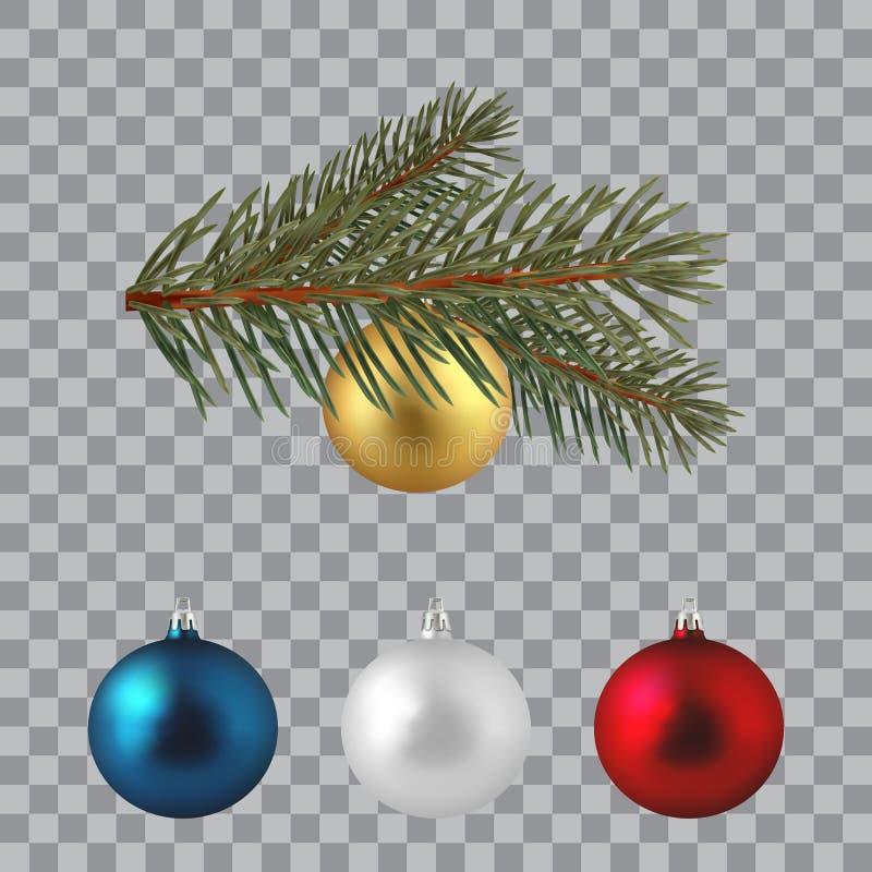 Rama spruce enorme verde Ramas del abeto con las bolas de la Navidad ilustración del vector