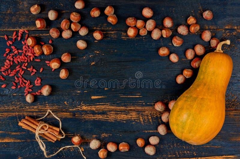 Rama surowi składniki dla dziękczynienie dyniowego kulebiaka, tarta lub polewka, - hazelnuts, cynamon, goji jagoda na ciemnym dre zdjęcia royalty free