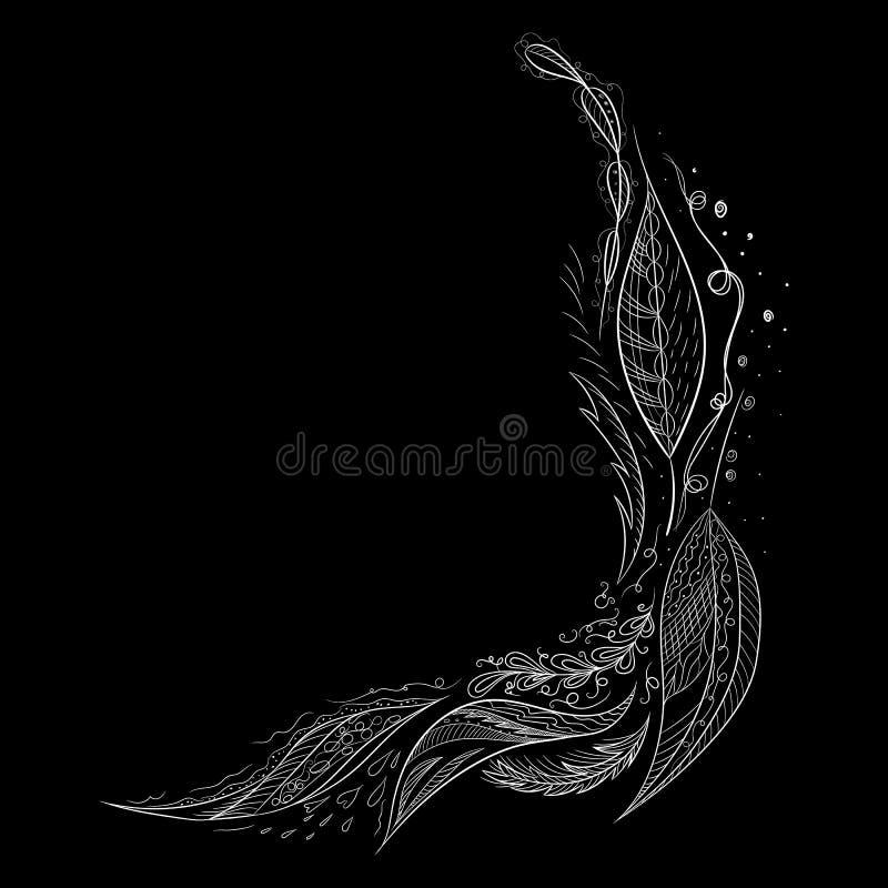 Rama tropikalna narysowana ręcznie Ilustracja liści dżungli Granica kwitnąca Rysowanie ręczne Wektor, izolowany Wiosenna karta śl ilustracji
