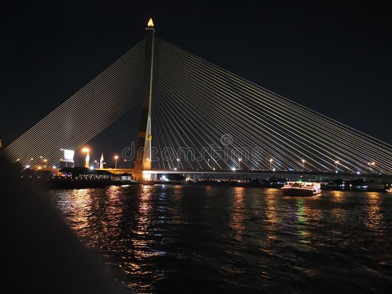 The Rama VIII bridge across Chao Praya river of Bangkok royalty free stock image