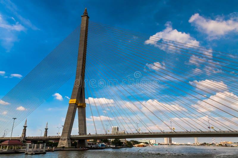 The Rama VIII Bridge on the Chao Phraya River, Bangkok stock image