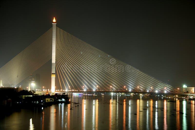 Download Rama VIII Bridge At Night In Bangkok Stock Image - Image: 26615705