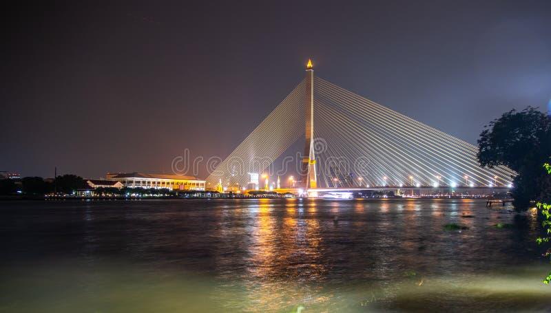 Rama VIII Bridge at night in Bangkok royalty free stock photo