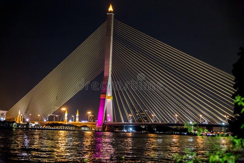 Rama VIII bridge at night stock photography