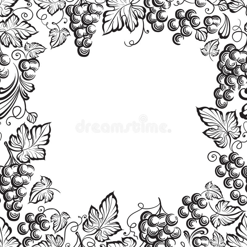 Rama winogrona monochromatyczny nakreślenie ilustracji
