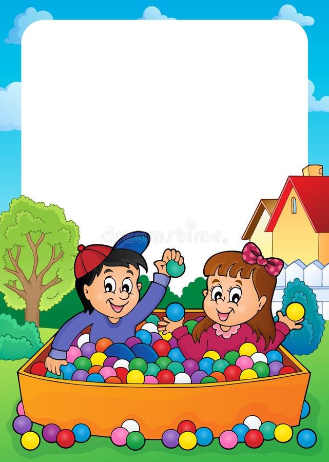 Download Rama z bawić się dzieci ilustracja wektor. Ilustracja złożonej z sfery - 57654401