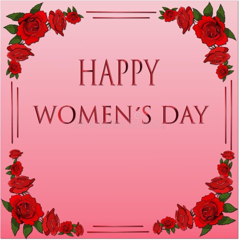 Rama z czerwonymi różami dla międzynarodowej womendnia karty ilustracji