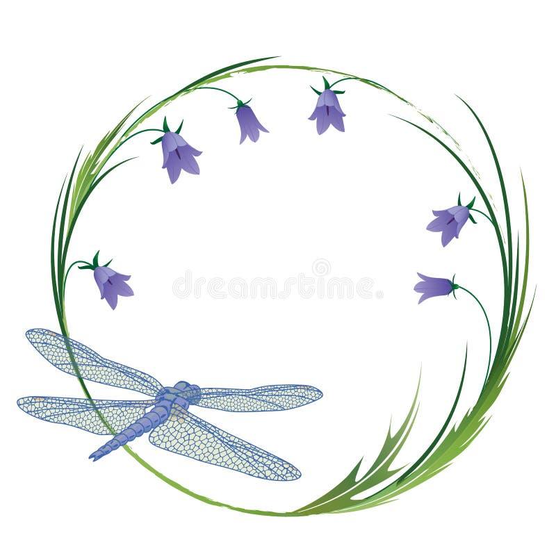 Rama z dragonfly i blubells ilustracja wektor