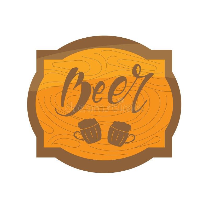 Rama z drewnianą teksturą z piwną inskrypcją i kubkiem literowanie Etykietki, odznaki, logo, znaczek, ikona obrazy stock