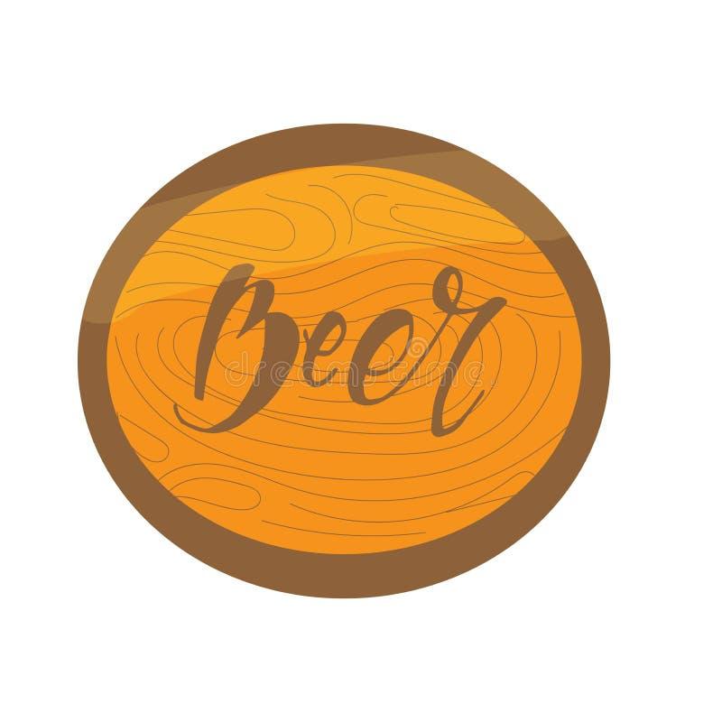 Rama z drewnianą teksturą z piwną inskrypcją literowanie Etykietki, odznaki, logo, znaczek, ikona obrazy stock