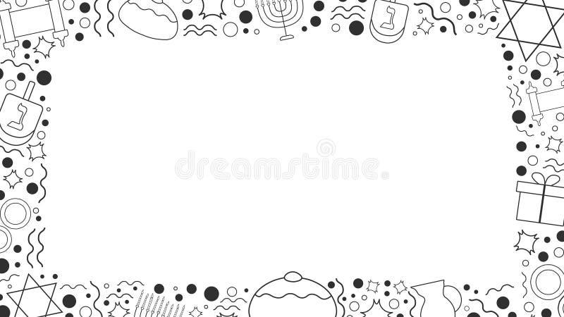 Rama z Hanukkah projekta wakacyjnego płaskiego czerni cienkimi kreskowymi ikonami ilustracja wektor