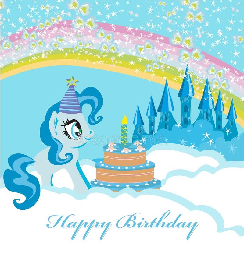 Rama z jednorożec i urodzinowym tortem royalty ilustracja