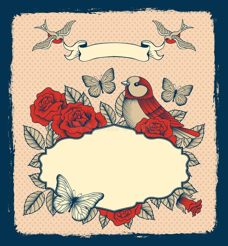 Rama z kwiatami, ptakami i sercem, royalty ilustracja