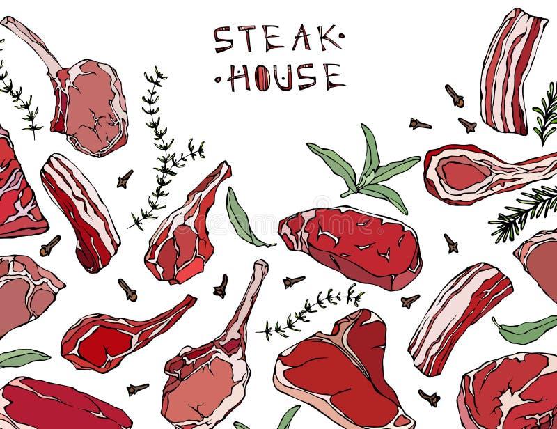 Rama z Mięsnymi produktami Restauracyjny menu lub masarka sklepu szablon Wołowina stek, baranek, wieprzowina ziobro również zwróc royalty ilustracja