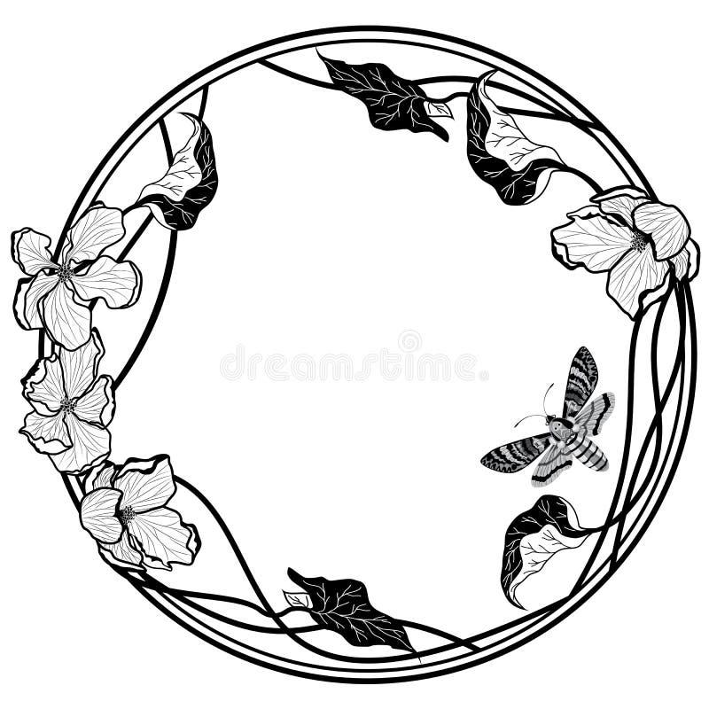 Rama z motyla i jabłka kwiatami ilustracja wektor
