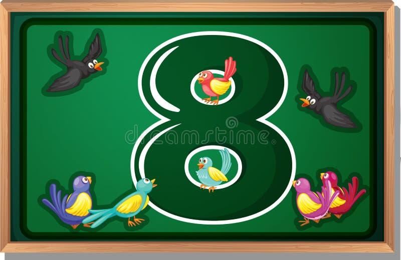 Rama z osiem ptakami ilustracja wektor