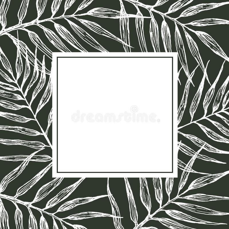Rama z palma li??mi szczotkarski w?giel drzewny rysunek rysuj?cy r?ki ilustracyjny ilustrator jak spojrzenie robi pastelowi trady ilustracja wektor