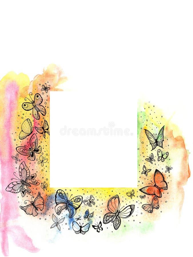 Rama z pięknymi motylami na krawędziach, akwareli painti ilustracja wektor