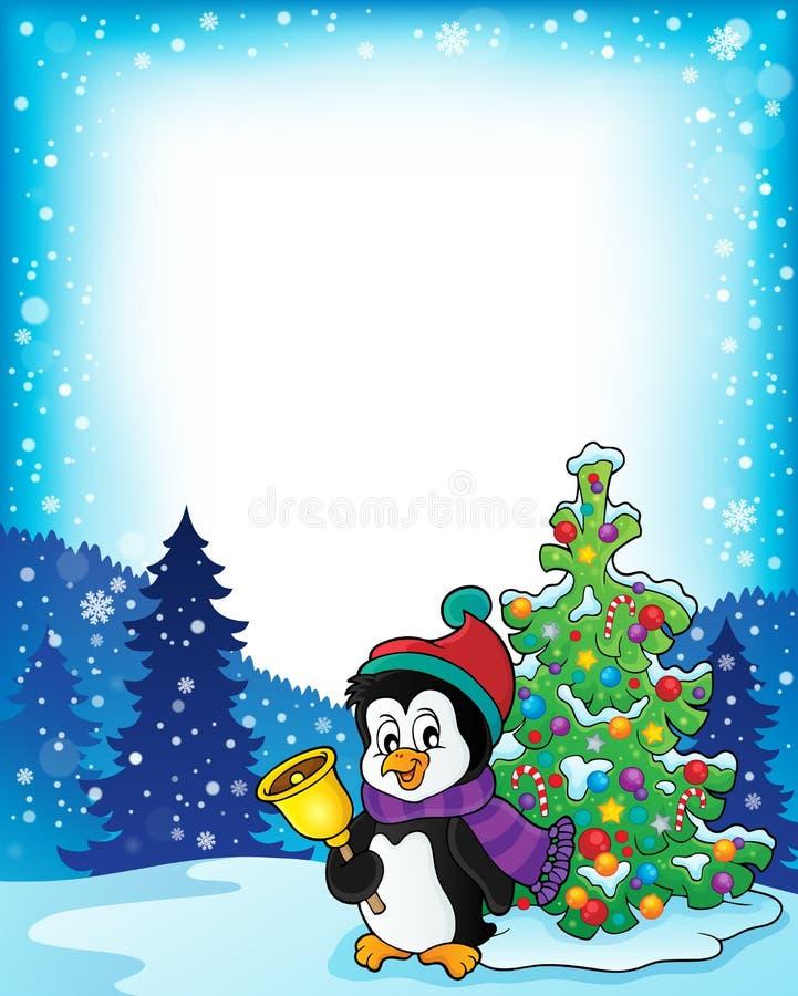 Rama z pingwinem i choinką royalty ilustracja