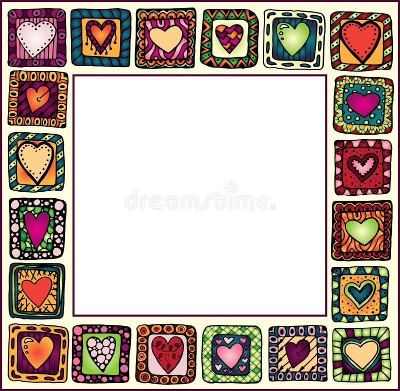 Rama z pociągany ręcznie sercami w doodle ramach. ilustracja wektor