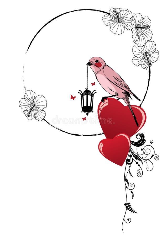 Rama z ptakiem, lampą i sercem, royalty ilustracja