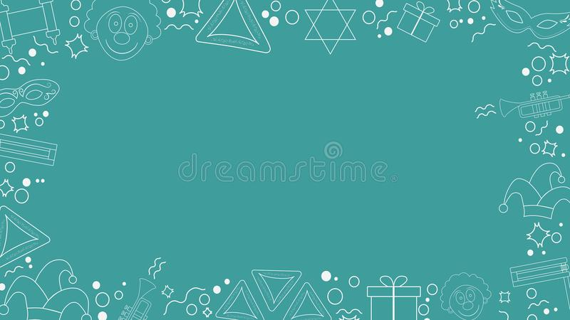 Rama z purim projekta wakacyjnego płaskiego bielu cienkimi kreskowymi ikonami ilustracja wektor