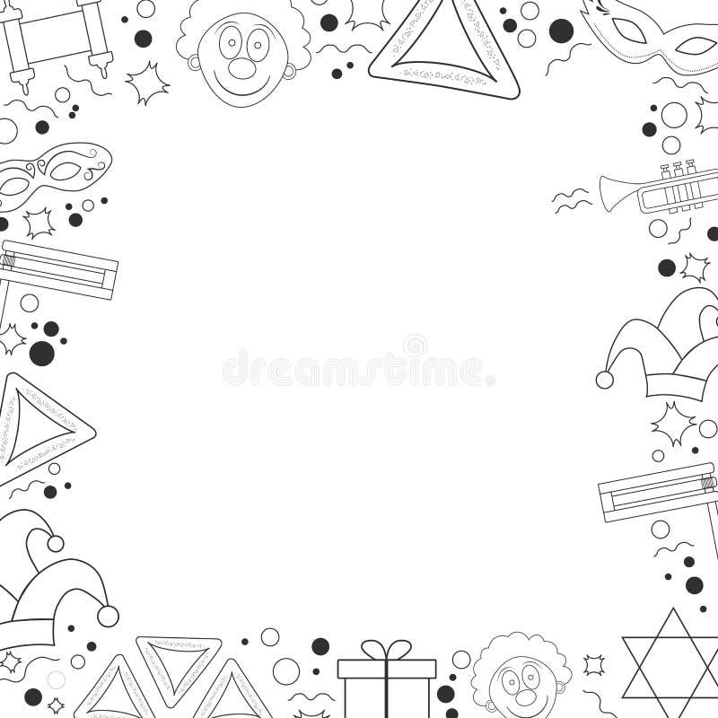 Rama z purim projekta wakacyjnego płaskiego czerni cienkimi kreskowymi ikonami ilustracji